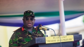 President Julius Maada Bio extols women soldiers, warns them against politics