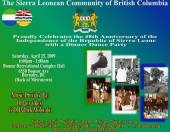 Vancouver, Canada: Sierra Leone Independence dinner and dance