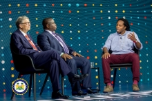 President Julius Maada Bio and Bill Gates at Goalkeepers event