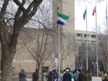 Sierra Leone flag flies over Edmonton, Canada
