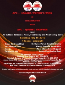 APC-Canada fundraising and outdoor BBQ