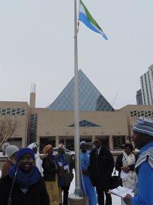 Sierra Leoneans in Edmonton fly their national flag