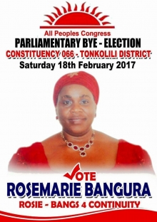 Constituency 066 bye-election: APC's Rosemarie Bangura declared winner