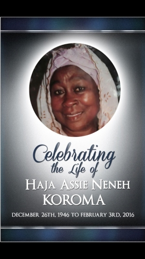 Maryland: Funeral service for the late Haja Assie Koroma